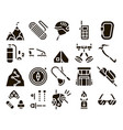 alpinism collection elements icons set