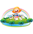 An island with a girl and her five pets vector image vector image