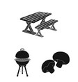 barbecue and equipment black icons in set vector image vector image