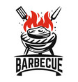 barbecue logo black steak fried on fire vector image vector image