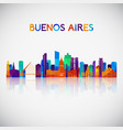 buenos aires skyline silhouette in colorful vector image vector image