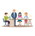 business characters in office with colleagues vector image