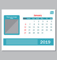 calendar january 2019 weeks start on sunday vector image