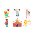 circus performers characters set strongman air vector image vector image