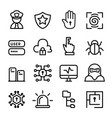computer security network software icon set vector image vector image