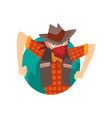 cowboy man climbing out triangular shape vector image vector image