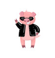 cute pig character in a black jacket and vector image vector image