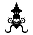europian squid silhouette cute seafood animal vector image