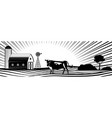 farm barn with windmill and cow on countryside vector image vector image
