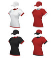 female blank uniform polo and baseball cap vector image vector image