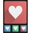 Flat icon set heart vector image vector image