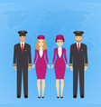 group of flat cute cartoon people of aircraft vector image