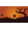 Halloween ghost and dry tree vector image vector image