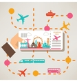 hand holding travel ticket travel around world vector image vector image