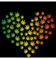 Heart made of marijuana leaves vector image