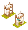 isometric bunk bed and loft bed vector image