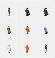 isometric people set of seaman detective hostess vector image vector image