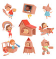 kids cardboard costumes children playing in vector image vector image