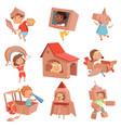 kids cardboard costumes children playing