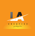 la l a letter modern logo design with yellow vector image vector image