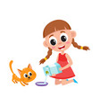 little girl pouring milk into bowl feeding cat vector image vector image