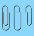 metal paper clips isolated and attached to paper vector image vector image