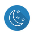 moon and stars flat linear long shadow icon vector image vector image