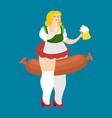 oktoberfest girl and sausage national beer vector image