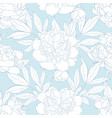 peony seamless pattern in white and blue colors vector image