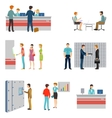 People in a bank interior flat icons set vector image vector image