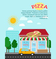 pizza advertising banner with shop building vector image vector image