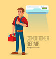 professional air conditioner repair man vector image