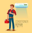professional air conditioner repair man vector image