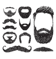 Set of mustache and beard silhouettes vector image