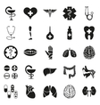 Simple black medical icon set on white vector image