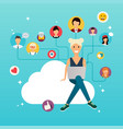 social network and teamwork concept for web info vector image