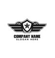 star and wings military emblem logo design vector image vector image