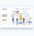 startup process website landing page design vector image vector image
