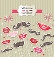 Stickers collection of mustaches and lips vector image vector image