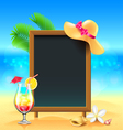 Summer vacation background with cocktail and menu vector image