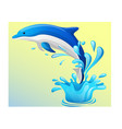 the dolphin who is jumping out of sea water vector image