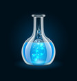 Transparent flask with magic blue liquid on black vector image