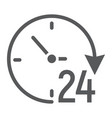 twenty four hour glyph icon e commerce vector image