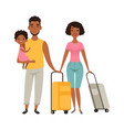 vacation people with suitcases family goes on vector image vector image