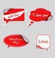 Valentine red stickers dialog bubble vector image vector image