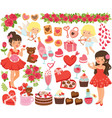 valentines day clipart set vector image vector image