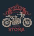 vintage motorcycle hand drawn t-shirt print vector image vector image