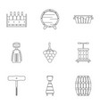 wine icon set outline style vector image