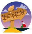 wooden signpost with inscription beach color vector image vector image