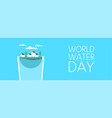 world water day drink glass banner for awareness vector image vector image